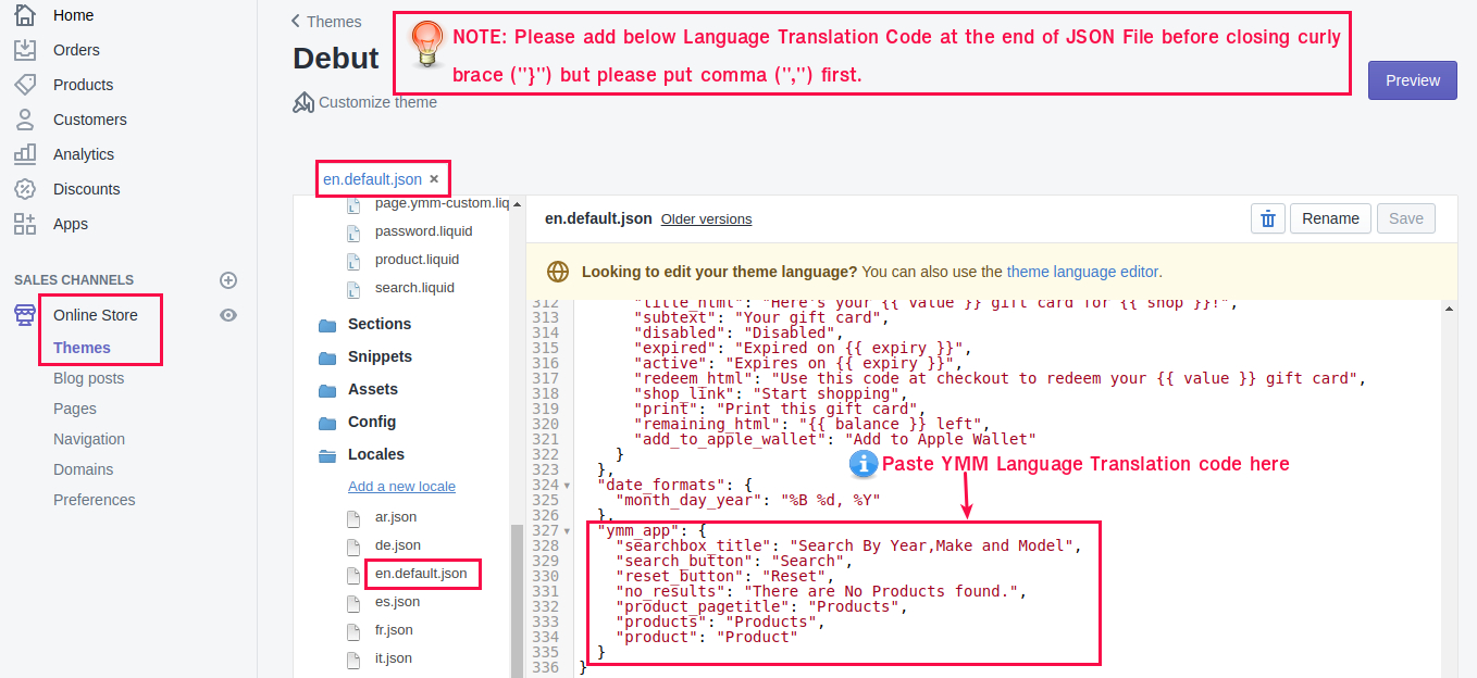 Where to add YMM Language Translation Code in theme file?